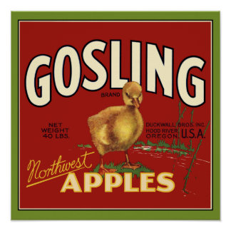 Gosling Baby Goose Apple Crate Label Poster