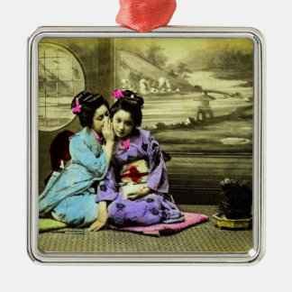 Gossip Geisha Girls of Old Japan Vintage Japanese Metal Ornament