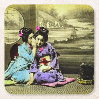 Gossip Geisha Girls of Old Japan Vintage Japanese Square Paper Coaster