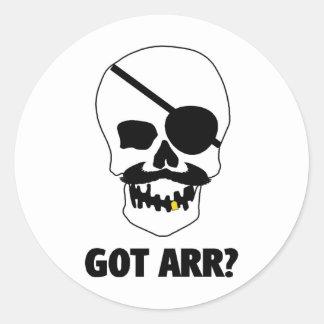 Got Arr? Pirate Skull Round Sticker