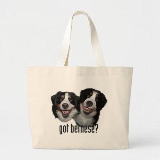 got bernese? large tote bag