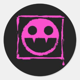 got blud smily ded girl vamp Smily n' Fangs!! Round Sticker