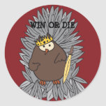 GoT Brute Hoot Owl King Round Stickers