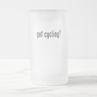 got cycling? frosted glass beer mug