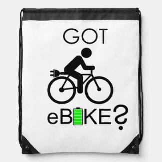 """Got eBike?"" custom drawstring bags"