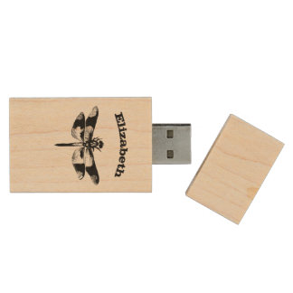 Got Flying Wings / Vintage Dragonfly Personalized Wood USB Flash Drive