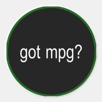 got mpg? car decal classic round sticker