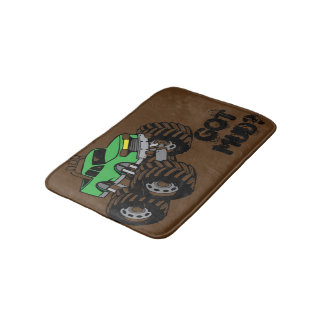 Got Mud? Green Monster Truck Bath Mat for Kids