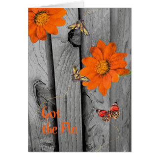 Got the Flu Get Well Card with Orange Daisies