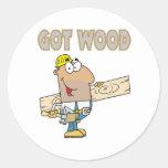 got wood carpenter humour funny design round sticker