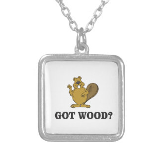 got wood? silver plated necklace