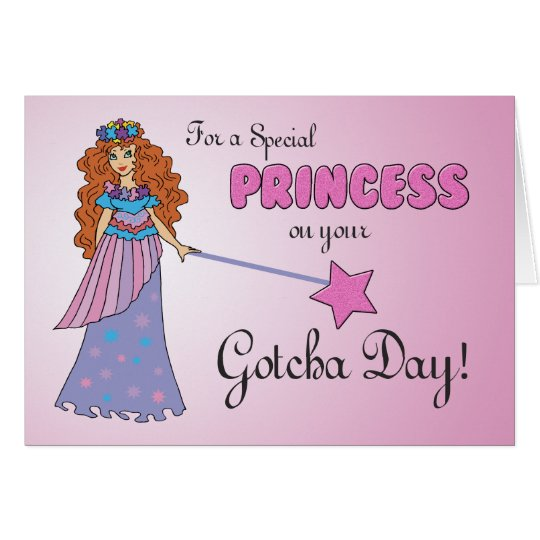 Gotcha Day Pink Princess w/ Sparkly-Look Wand Card