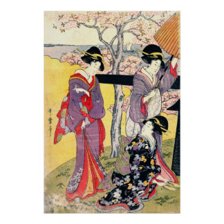 Gotenyama Cherry Blossoms Triptych Left 1805 Poster