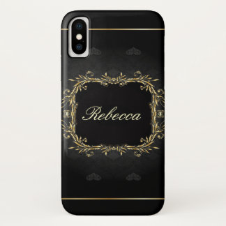 goth black and gold wreath initial monogrammed iPhone x case