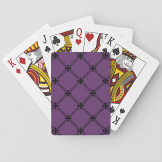 Goth Black and Purple Diagonal Pattern Playing Cards
