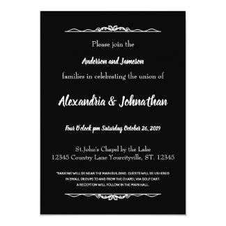 Goth Black and White Wedding Invites