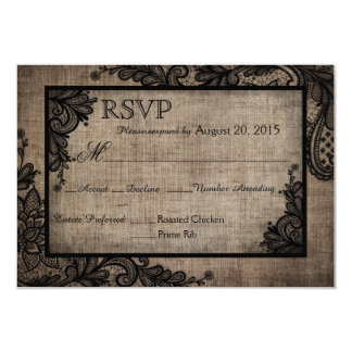 Goth Black Lace Rustic Burlap RSVP Card