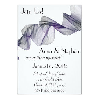 Goth Black & Purple Veil Wedding Invitation
