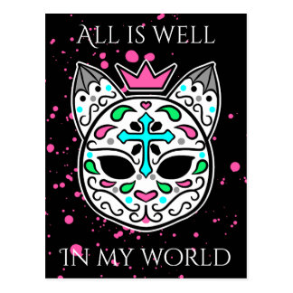 Goth cat affirmation postcard
