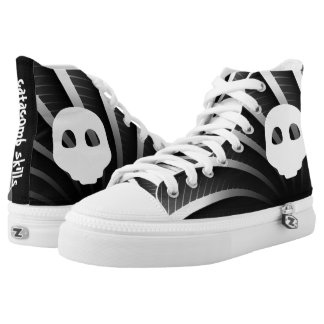 Goth Catacomb white emoji emo skull tattoo High Tops