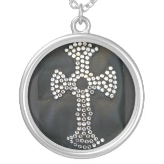 GOTH CRYSTAL CROSS ON BLACK PRINT SILVER PLATED NECKLACE