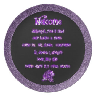 Goth Damask Messy House Apology Plate