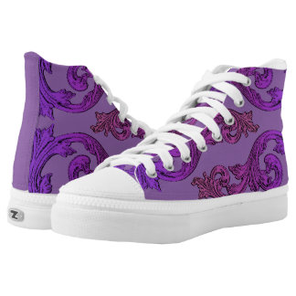 Goth Elegant Ornate Purple Design High Tops