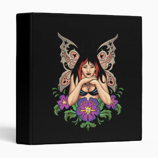 Goth Fairy with Flowers, Butterfly Wings by Al Rio Vinyl Binder