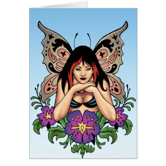 Goth Fairy with Flowers Butterfly Wings by Al Rio Greeting Card