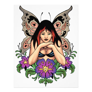 Goth Fairy with Flowers, Butterfly Wings by Al Rio Letterhead Design
