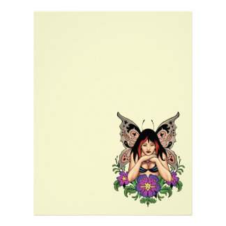 Goth Fairy with Flowers, Butterfly Wings by Al Rio Letterhead Template