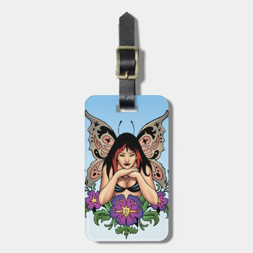 Goth Fairy with Flowers, Butterfly Wings by Al Rio Bag Tag