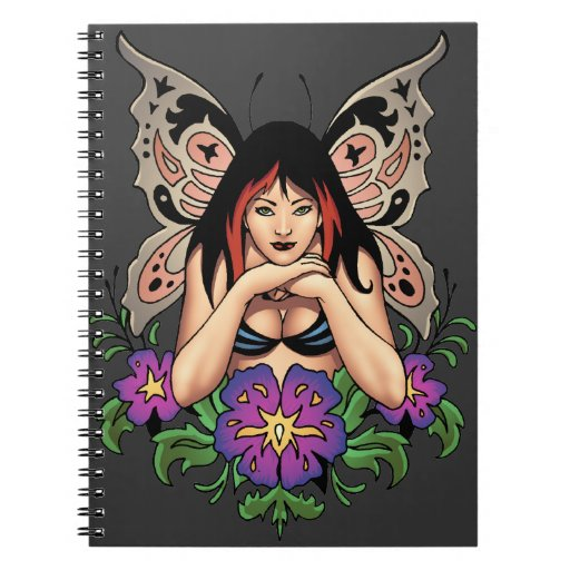 Goth Fairy with Flowers, Butterfly Wings by Al Rio Note Books
