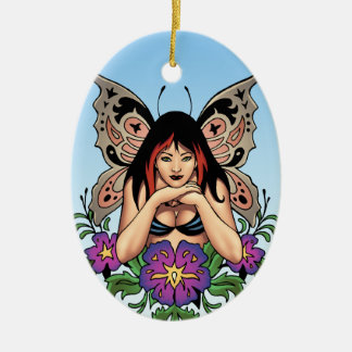 Goth Fairy with Flowers, Butterfly Wings by Al Rio Double-Sided Oval Ceramic Christmas Ornament