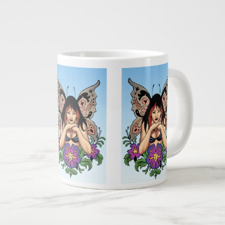 Goth Fairy with Flowers, Butterfly Wings by Al Rio Jumbo Mugs