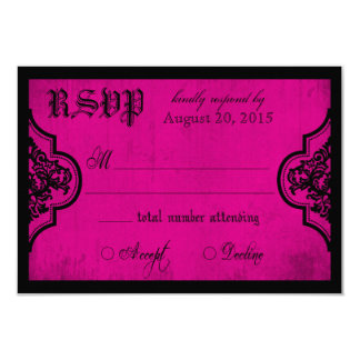 Goth Fuchsia and Black Lace RSVP Card