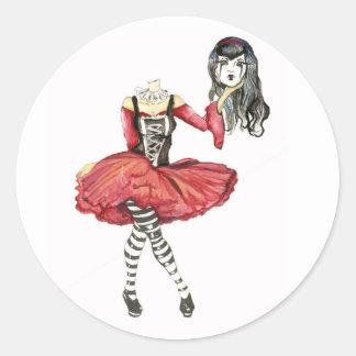 Goth Girl Classic Round Sticker