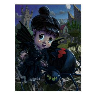 Goth girl fairy with spider widow postcard