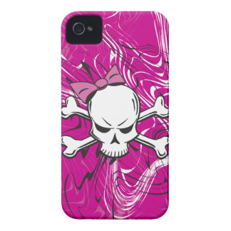 Goth Girly Skull with pink bow iPhone 4 Case