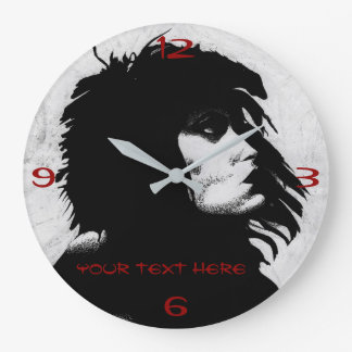 Goth Goddess Woman Portrait Iconic Fashion Art Large Clock