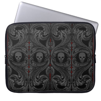 Goth Gray Ornament with Skull Laptop Sleeve