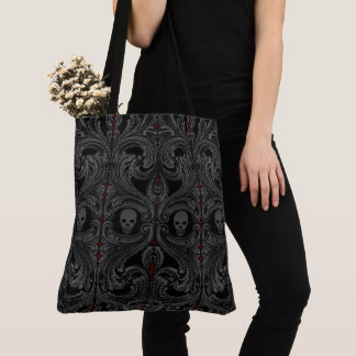 Goth Grey Ornament with Skull Tote Bag