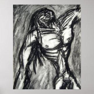 Goth grunge d'emo de dessin de fusain de peine et  poster