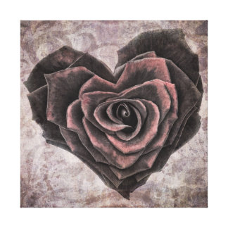 goth heart rose wrapped canvas