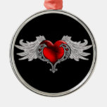 Goth Heart with Angel Wings Silver-Colored Round Ornament
