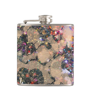 Goth Lace Roses Hip Flask