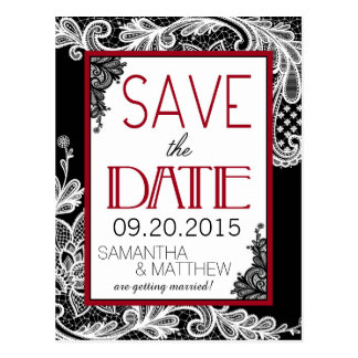 Goth Lace Save the Date Postcard