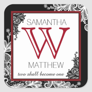 Goth Lace Wedding Gift Label Square Sticker