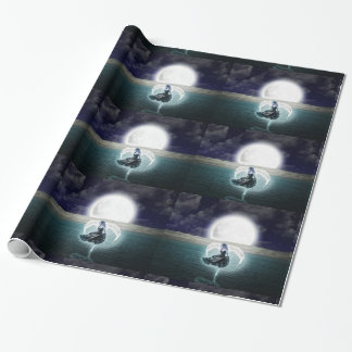 goth moon angel wrapping paper