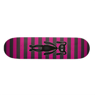 Goth Pink and Black Bunny Skateboard Deck